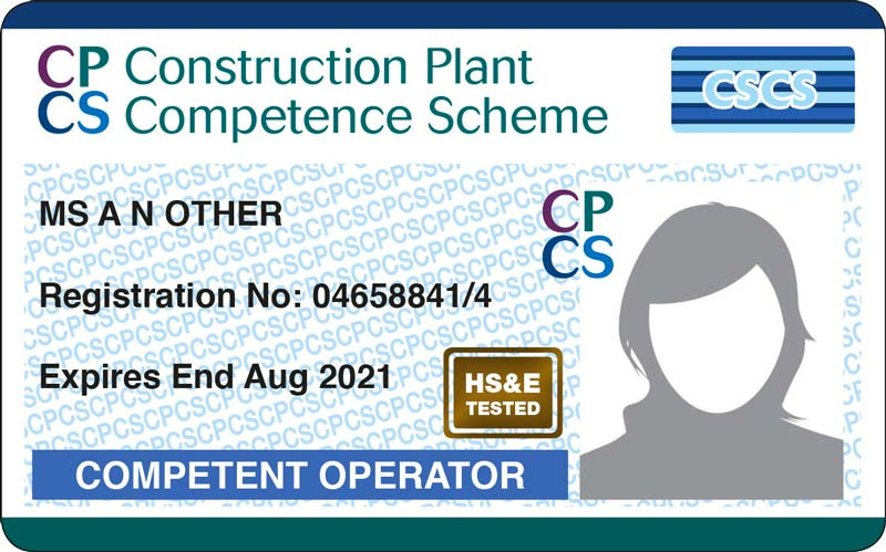 CPCS Blue Competent operator Card
